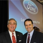 Lt. Gov. Jerry Abramson and Mark Giuffe, Director of State Government Affairs for UPS Airlines, pose for a photo Wednesday at Ford's celebration of the Louisville Assembly Plant's $600-millon-dollar transformation. (Photo by Ed Lane)