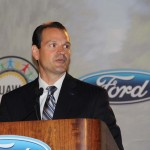 Jim Tetreault, Ford Vice President of North American Manufacturing, speaks at Wednesday's event at the Louisville Assembly Plant.