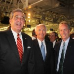 Lt. Gov. Jerry Abramson and Gov. Steve Beshear talk with Louisville Mayor Greg Fischer at the celebration of the transformation of the Louisville Assembly Plant. Ford spent $600 million to renovate the facility to produce the all-new 2013 Ford Escape. (Photo by Ed Lane)