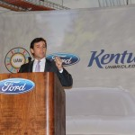 Mark Fields, Ford President of the Americas, speaks Wednesday about the transformation of the Louisville Assembly Plant, which is now producing the all-new 2013 Ford Escape. Ford pumped $600 million into the facility and created 1,800 jobs in Louisville. (Photo by Ed Lane)