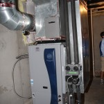 A geothermal HVAC system is shown at a home in the Blackford Oaks Subdivision.