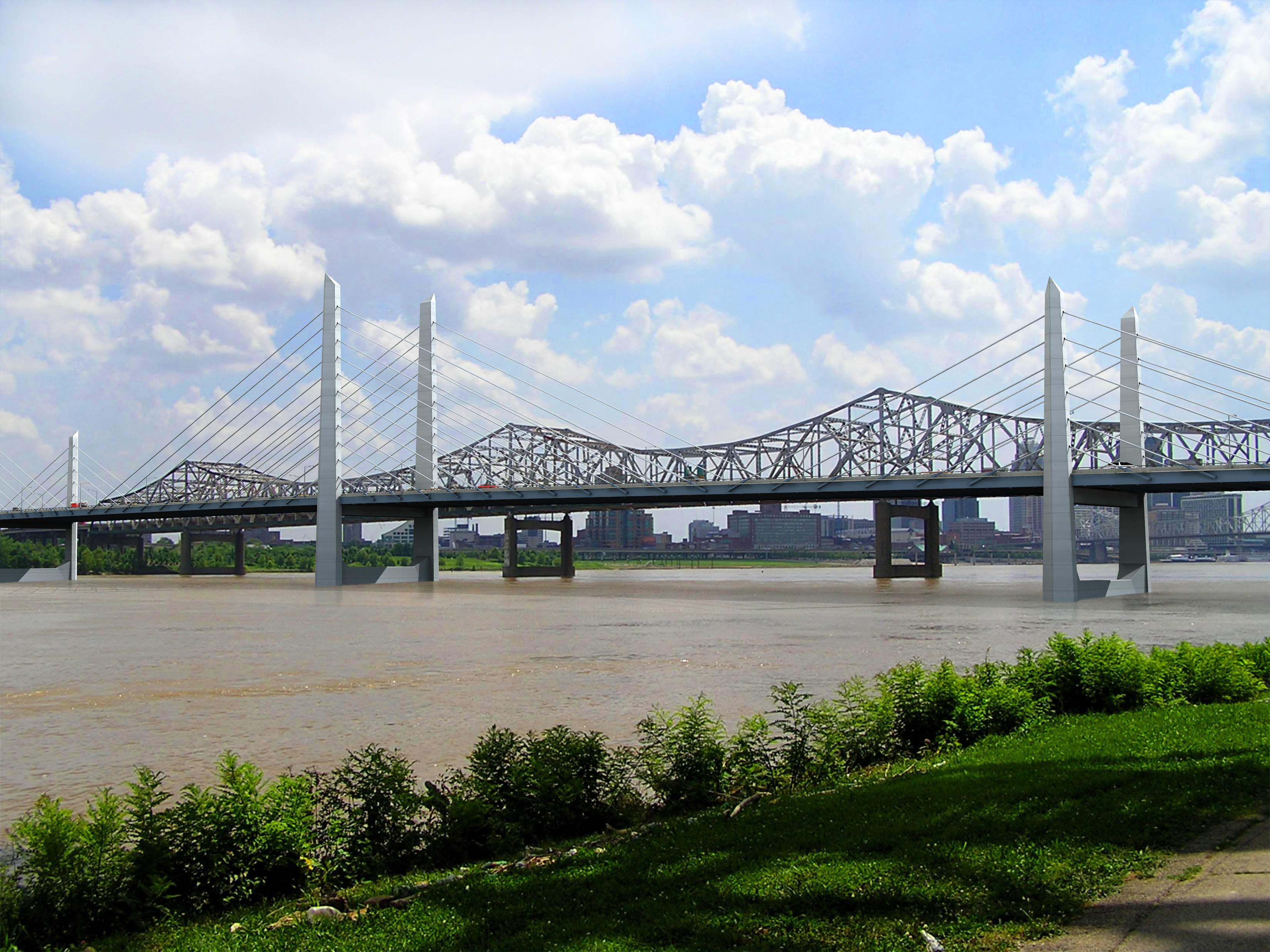 The new Downtown Cross is shown from Indiana in this rendering provided by the Ohio River Bridges Project.