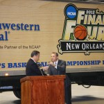 Dan Rivers presents Coach John Calipari with the keys to the truck containing a portion of the 2012