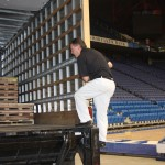 The basketball floor from the Superdome in New Orleans during the 2012 NCAA Championship was delivered via truck to Rupp Arena on Wednesday.