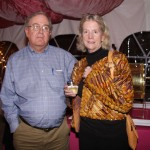 Art collector Nancy Barron's brokerage firm has sponsored the Lexington Art League's annual reverse raffle auction for many years. Shown with her is Dave Shaw, a registered representative at Nancy Barron & Associates.