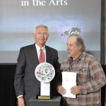 Bruce Burris of Latitude Artist Community, Lexington, receives the Community Arts Award.