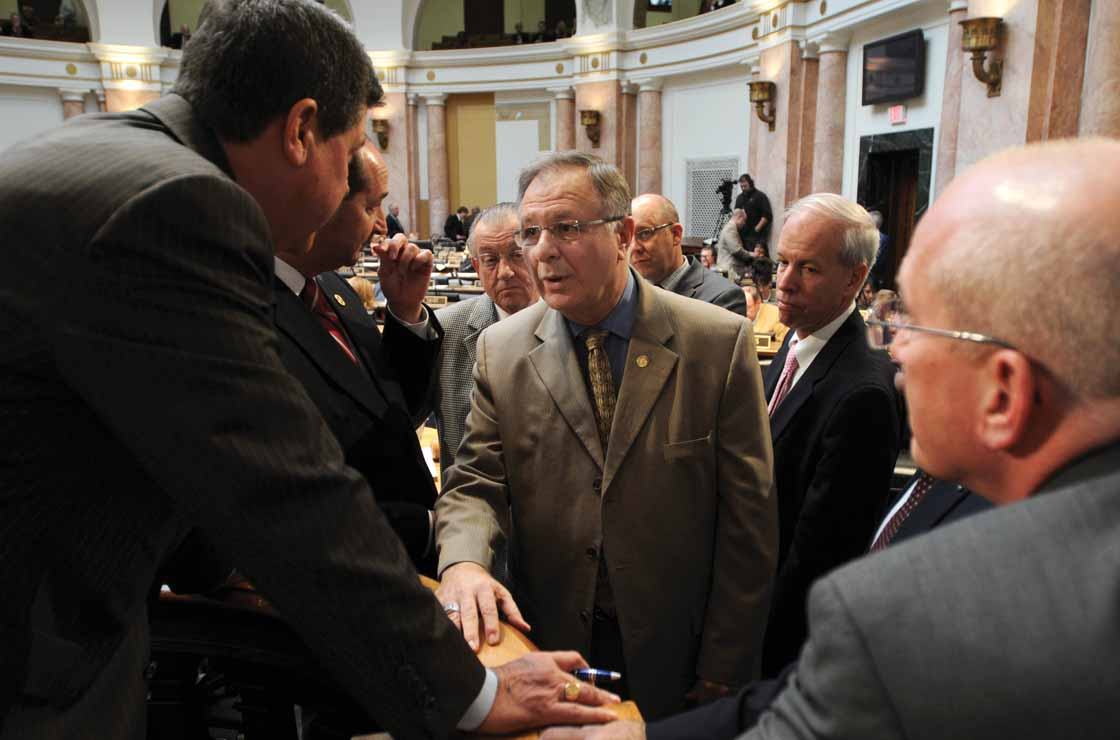 General Assembly members exchange ideas during a November interim gathering. Pictured, from left, are House Speaker Greg Stumbo, House Majority Leader Rocky Adkins, former Rep. Danny Ford, Speaker Pro Tem Larry Clark and Rep. Joseph Fischer.