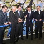 Officials cut the ribbon for the new global headquarters. From left are Bob Quick of Commerce Lexington, Gov. Steve Beshear, Tempur-Pedic CEO Mark Sarvary, Mayor Jim Gray and former UK President Lee Todd.
