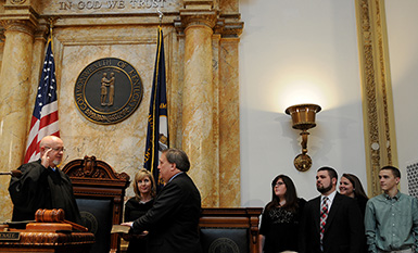Sen. Robert Stivers, R-Manchester, is sworn in as Kentucky Senate President.