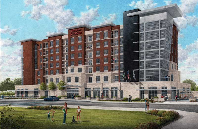 This is a rendering of the Hampton Inn and Suites hotel project by the Malcolm Bryant Corp. set for completion later this year in Owensboro, which was able to undertake a $176 million renovation of its downtown riverfront thanks to $80 million in public bonds backed by an increase in the local insurance tax.