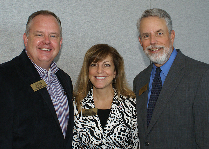 Kentucky's largest and oldest venture club is Venture Connectors in Louisville. At a recent monthly meeting were, from left, Paul Moses of Purdue Research Foundation, board member; Suzanne Bergmeister of Sunflower Business Ventures, president; and Robert Brown of Bingham Greenebaum Doll, chair.