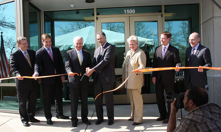 State and local officials joined Bingham on Thursday to celebrate the official opening of the law firm's global services center in Lexington.