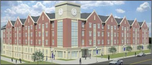Construction of residence hall Woodland Glen I, shown here in an artist's rendering, is part of the second phase in a campus-wide revitalization project at the University of Kentucky. Located at the corner of Woodland and Hilltop avenues, Woodland Glen I will have 1,818 beds and 33 active learning rooms.