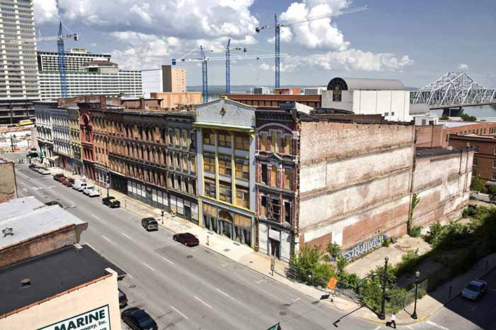 "Louisville was once a hub for distilling activity and distribution, and until the 1920s, as many as 50 distilleries were located on a portion of Main Street dubbed ""Whiskey Row."" The area, shown here, is now being renovated for future bourbon-themed attractions. (Photo courtesy of the Louisville Convention and Visitors Bureau)"