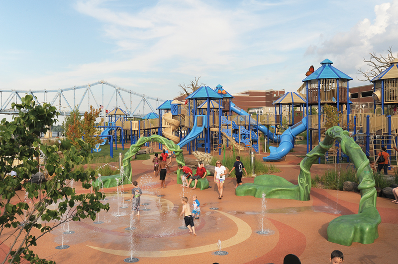 The six-acre Smothers Park and Promenade on the Owensboro downtown riverfront includes a large children's playground. (Debra Gibson Isaacs photo)
