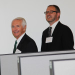 Tom Weiland, Amazon vice president of global customer service, gives Gov. Steve Beshear a tour of the Winchester call center.