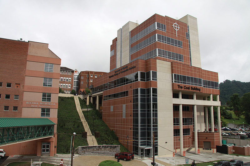 The nine-story $40 million Coal Building at the University of Pikeville houses the UPike School of Osteopathic Medicine, offices, classrooms and a 400-seat cafeteria on the sixth floor with views overlooking downtown Pikeville.