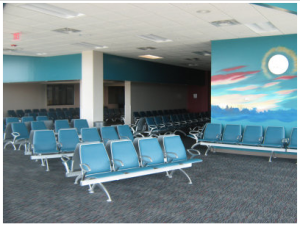 The terminal project increases the size of the passenger waiting area and makes other improvements to facilitate the movement of passengers and baggage.