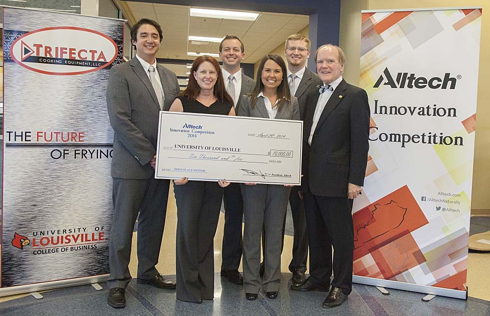 The University of Louisville team won first place at the 2014 Alltech Innovation Competition in Lexington, Ky. on April 26. The team's venture - Trifecta Cooking Equipment, LLC - is the patented FuturFry deep fryer, which will help restaurant operators save 40 percent on annual cooking oil costs. Pictured from left: Ryan Cash; Bridget Kueber; Matt Long; Brittany Moneymaker; Wyatt Taylor; Dr. Pearse Lyons, president and founder of Alltech