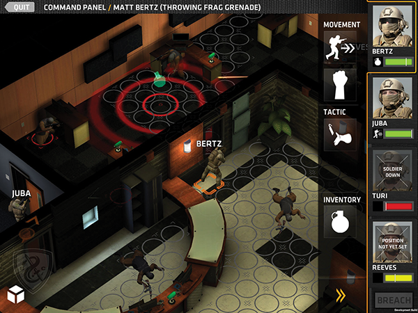 "A screen shot from Gun Media's ""Breach and Clear,"" a turn-based game in which players acting as special operations force members must ""breach"" spaces and attempt to ""clear"" enemy combatants by plotting strategy before they and then their opponent initiate it."