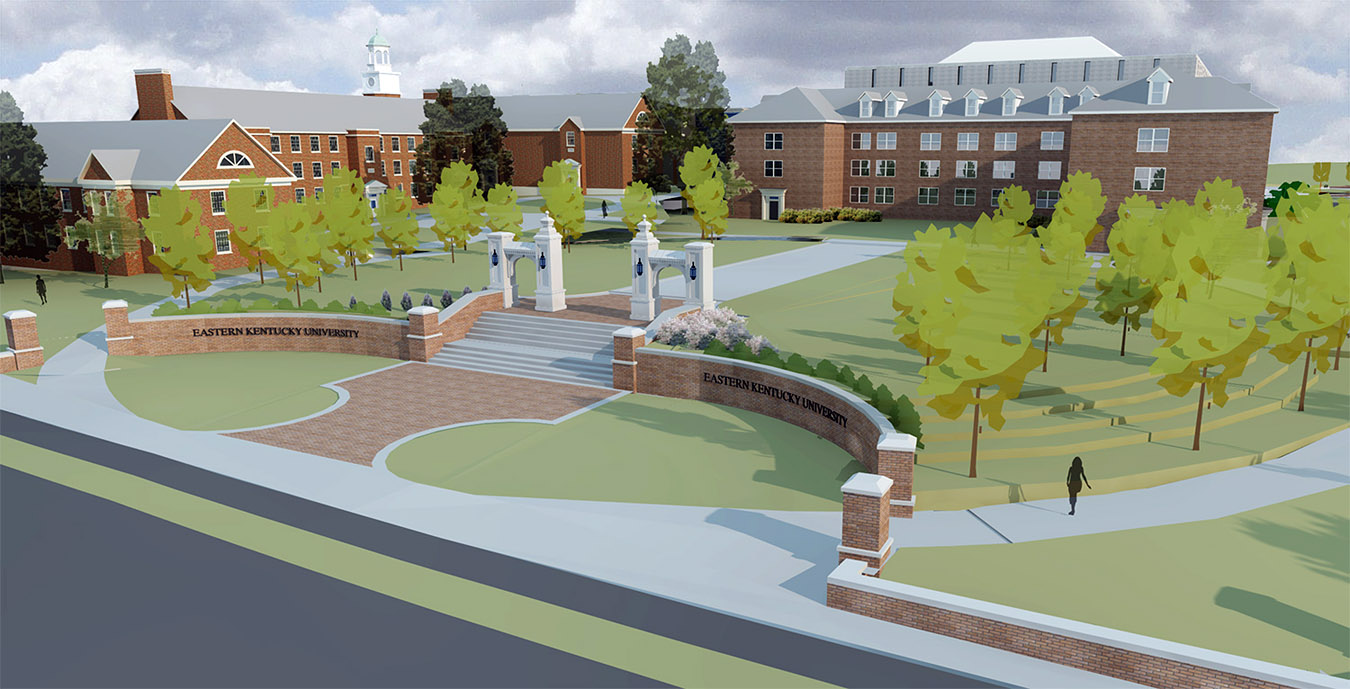 rendering is of a new pedestrian entranceway in the former location of the Combs Residence Hall, near the intersection of Lancaster Avenue and Barnes Mill Road.