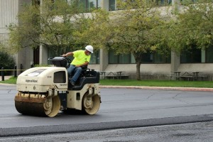 The asphalt contains more than 9,000 pounds of toner from recycled printer cartridges.