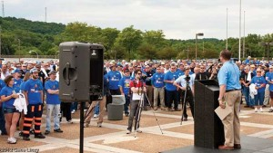 Bill Bissett, president of the Kentucky Coal Association, speaks during a rally at Capital Plaza in Frankfort in 2012 held to call attention to regulations by the federal Environmental Protection Agency that the industry said is causing the elimination of valuable coal jobs.