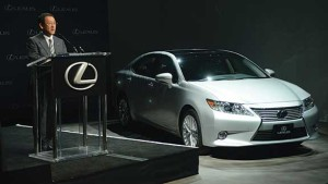 Toyota Motor Corp. President Akio Toyoda announces that the Lexus ES 350 sedan will be produced in Georgetown