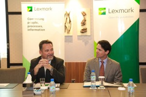 Mathias Militzer (left) and Todd Hamblin, Lexmark CMO, celebrating the Riyadh office opening.