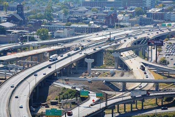 The intersection of Interstates 64, 65 and 71 in Louisville, where morning and evening rush-hour traffic slows to a crawl, have been described as one of the most significant highway transport bottlenecks in the nation. A reworked and streamlined Spaghetti Junction will be completed in 2016.