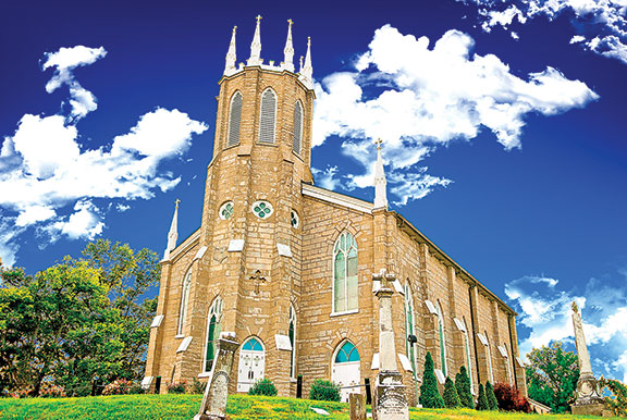 St. Rose Priory Church near Springfield in Washington County is the foundation site of the Dominican Order of Catholic monks in the United States. Its original 1812 building, the first brick church in Kentucky when completed, was succeeded by the current structure in 1854.
