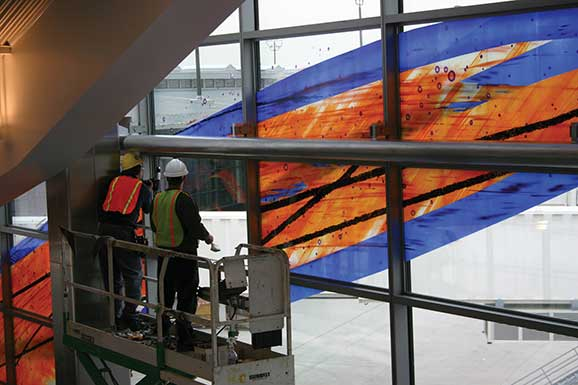 Glass artwork by Guy Kemper of Versailles is installed at the Baltimore-Washington International Airport.