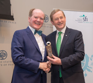 Taoiseach Enda Kenny (right) presents The Science Foundation Ireland St. Patrick's Day Science Medal 2017 to Dr. Pearse Lyons, president of Alltech, at the United States Institute of Peace. (Nick Crettier)