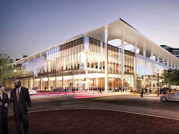 An artist's rendering of the Kentucky International Convention Center in downtown Louisville, which is undergoing a $180 million renovation and expansion expected to be completed in 2018. It will add 50,000 s.f. of exhibition space, bringing the total to 200,000 s.f.