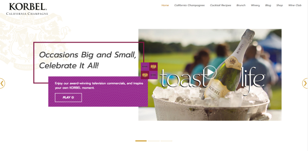 This is the homepage of Korbel California Champagne's new website.