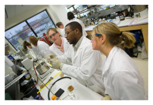Ag Biotech students in Dr. Joe Chappell's lab class in the plant science building.