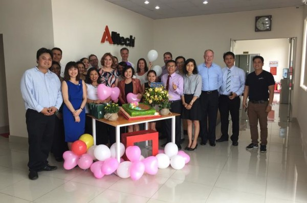 Executive MBA group at Alltech facility in Vietnam.