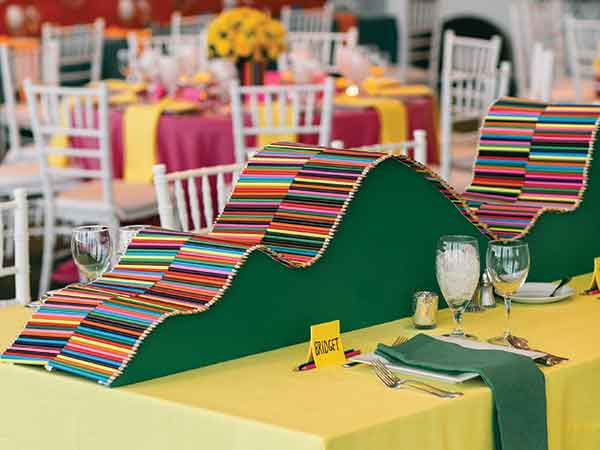 "Celebrating the 150th anniversary of DDWilliamson, event planner Lauren Chitwood called it ""the pencil party"" after creating centerpieces with thousands of pencils."