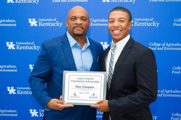 Ronald Mack, left, executive director of Legacy Equine Foundation, presented Dion Compton with the foundation's scholarship. (Matt Barton, UK Ag Communications)