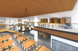 Archectural rendering of the UK College of Law library and reading room.
