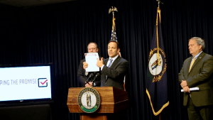 Gov. Bevin talked about the new pension plan.