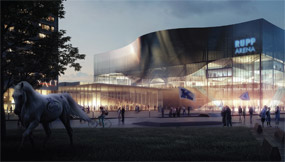 Exterior elevation rendering of the proposed renovation of Lexington's Rupp Arena that was approved by the Rupp Arena Arts and Entertainment Task Force. The design was created by SPACE GROUP, an architectural and design firm based in Norway.