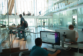 Students use Northern Kentucky University's newly opened Griffin Hall in late August.