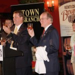 Dr. Pearse Lyons and those gathered to celebrate the distillery being named a member of the Kentucky Bourbon Trail toast the announcement Thursday at Lexington Brewing and Distilling Company.