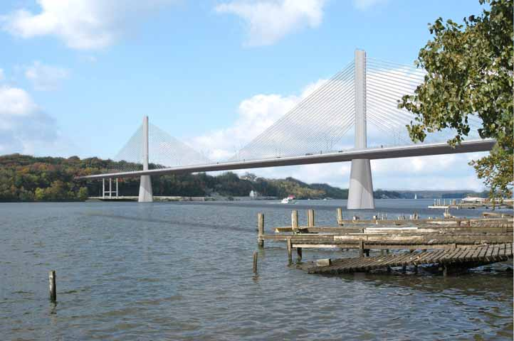 The future East End Crossing is shown from the Kentucky shoreline in this artist's rendering provided by the Ohio River Bridges Project.