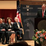 University of Louisville President Jim Ramsey speaks Monday at the McConnell Center lecture series. From left are CIA Director Gen. David Petraeus, former labor secretary Elaine Chao and Sen. Mitch McConnell, R-Ky. Petraeus was the featured speaker.