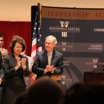 From left are CIA Director Gen. David Petraeus, former labor secretary Elaine Chao Sen. Mitch McConnell, R-Ky., and UofL President Jim Ramsey at a lecture series featuring Petreaus.