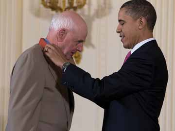 Wendell E. Berry receives a 2010 National Medal of Arts and Humanities from President Barack Obama.
