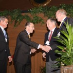 Lynn Imaging accepts the award from Stephen Hillenmeyer, left, and Tucker Ballinger, president and CEO of Forcht Bank.