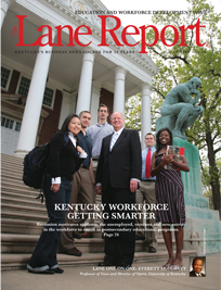 University of Louisville President James Ramsey, center, is surrounded on the steps of Grawemeyer Hall by members of the diverse student body.